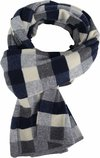 Profuomo Scarf Navy Checkered Wool